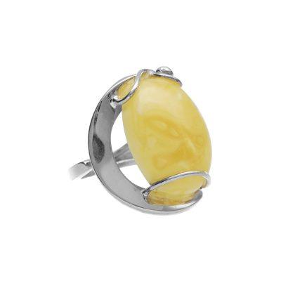 Miodowy pierścionek bursztyn