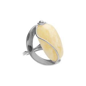 Srebrny pierścionek biały bursztyn