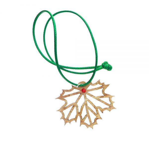 drewniany naszyjnik w kształcie liścia klonu z koralem