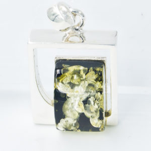 Decorative silver pendant with rectangular green amber A2A29