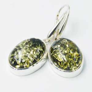 Decorative earrings with natural green amber A2A44