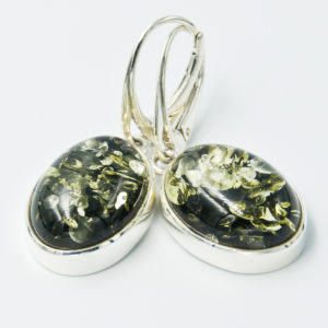 Elegant earrings with green Baltic amber A2A45