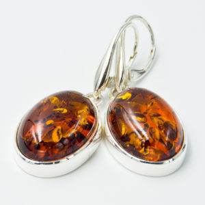 Decorative earrings with natural cognac amber A2A49