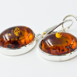 Decorative silver earrings with natural cognac amber A2A52