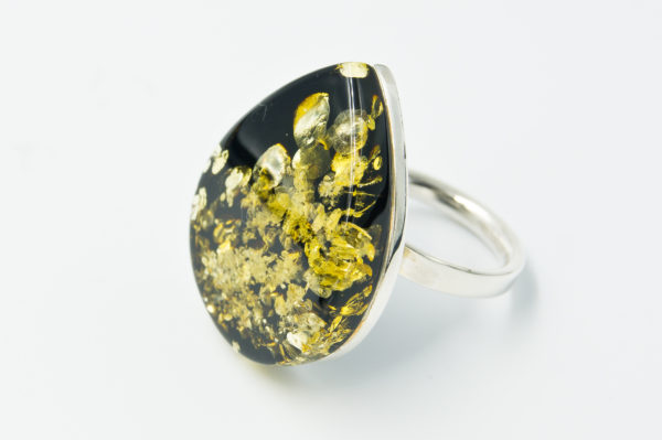 Original silver ring with green amber A2A75
