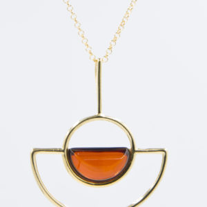 Modern necklace with semicircular cognac amber Z1A07