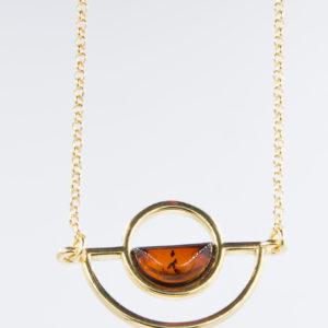Modern bracelet with semicircular cognac amber Z1A09