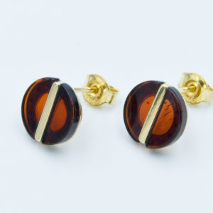 Circular earrings with natural cognac amber Z1A14