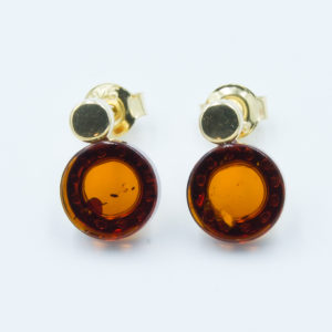 Elegant earrings with natural cognac amber Z1A18