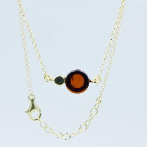 Elegant bracelet with round cognac amber Z1A19