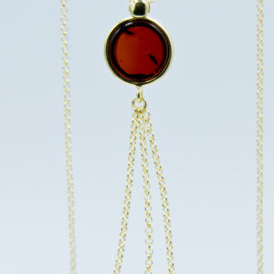 Decorative necklace with round cognac amber Z1A21
