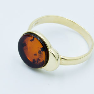 Simple elegant ring with round cognac amber Z1A37 size 12