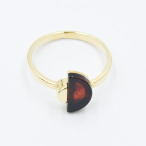 Original elegant ring with semicircular cognac amber Z1A44 size 12