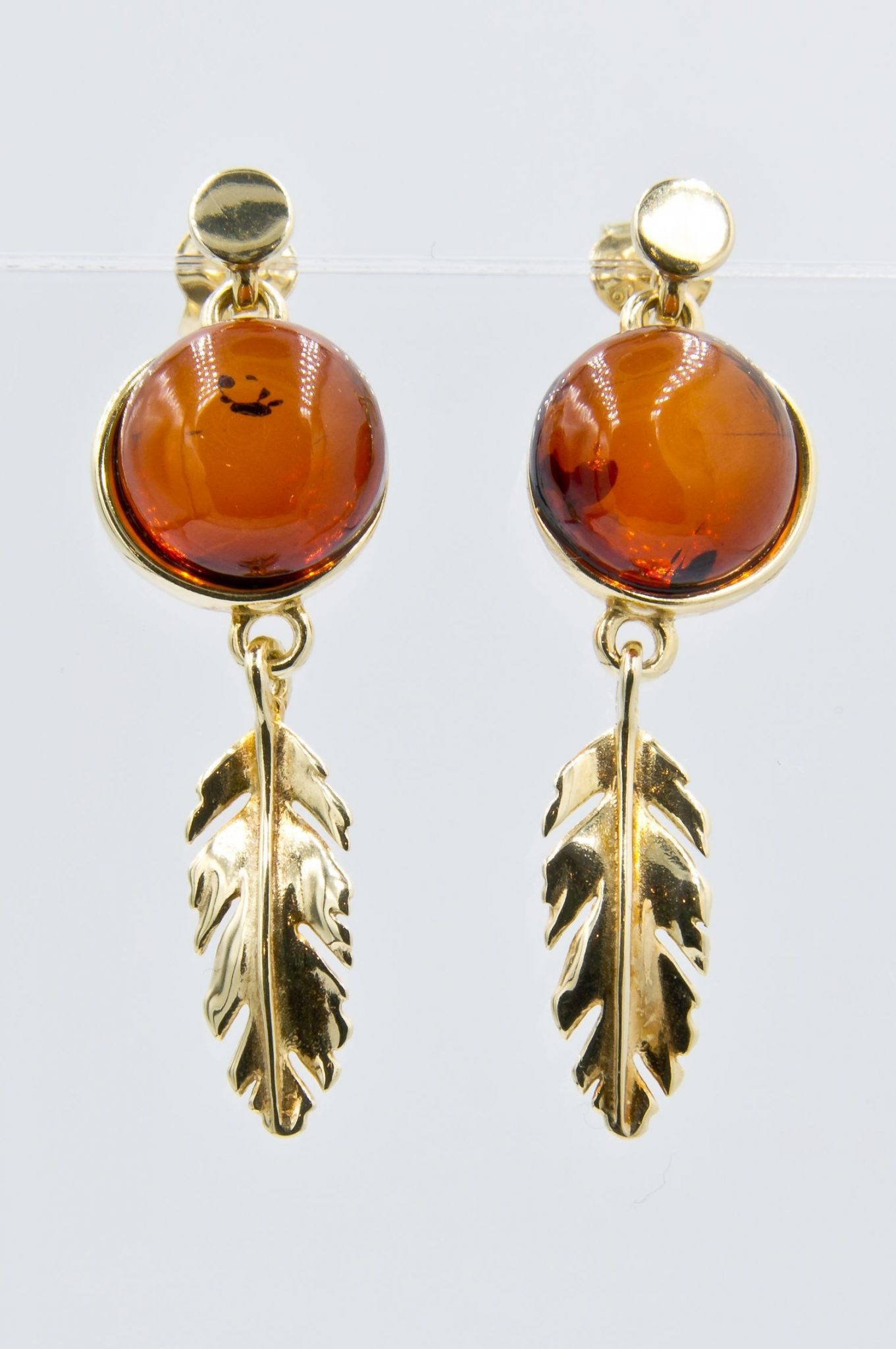OOAK Decorative earrings with round cognac amber Z1A57