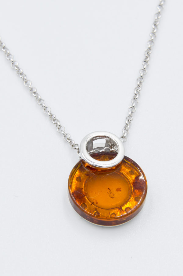 Elegant silver necklace with round cognac amber Z1A76