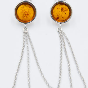 Long earrings with round cognac amber Z1A79