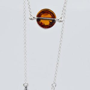 Elegenat bracelet with round cognac amber Z1A80