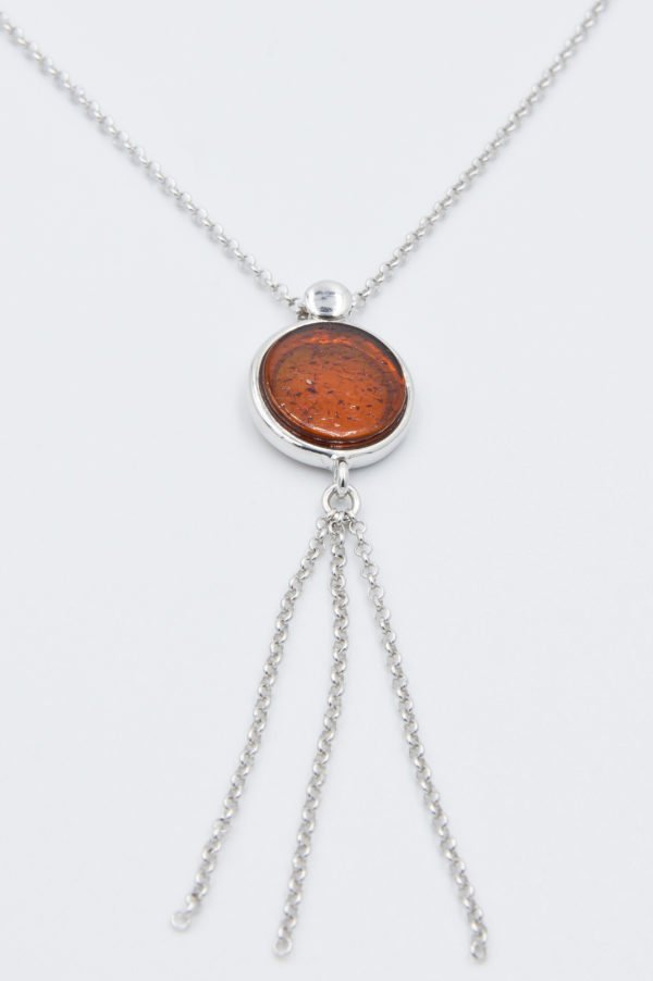 Decorative necklace with round cognac amber Z1A85