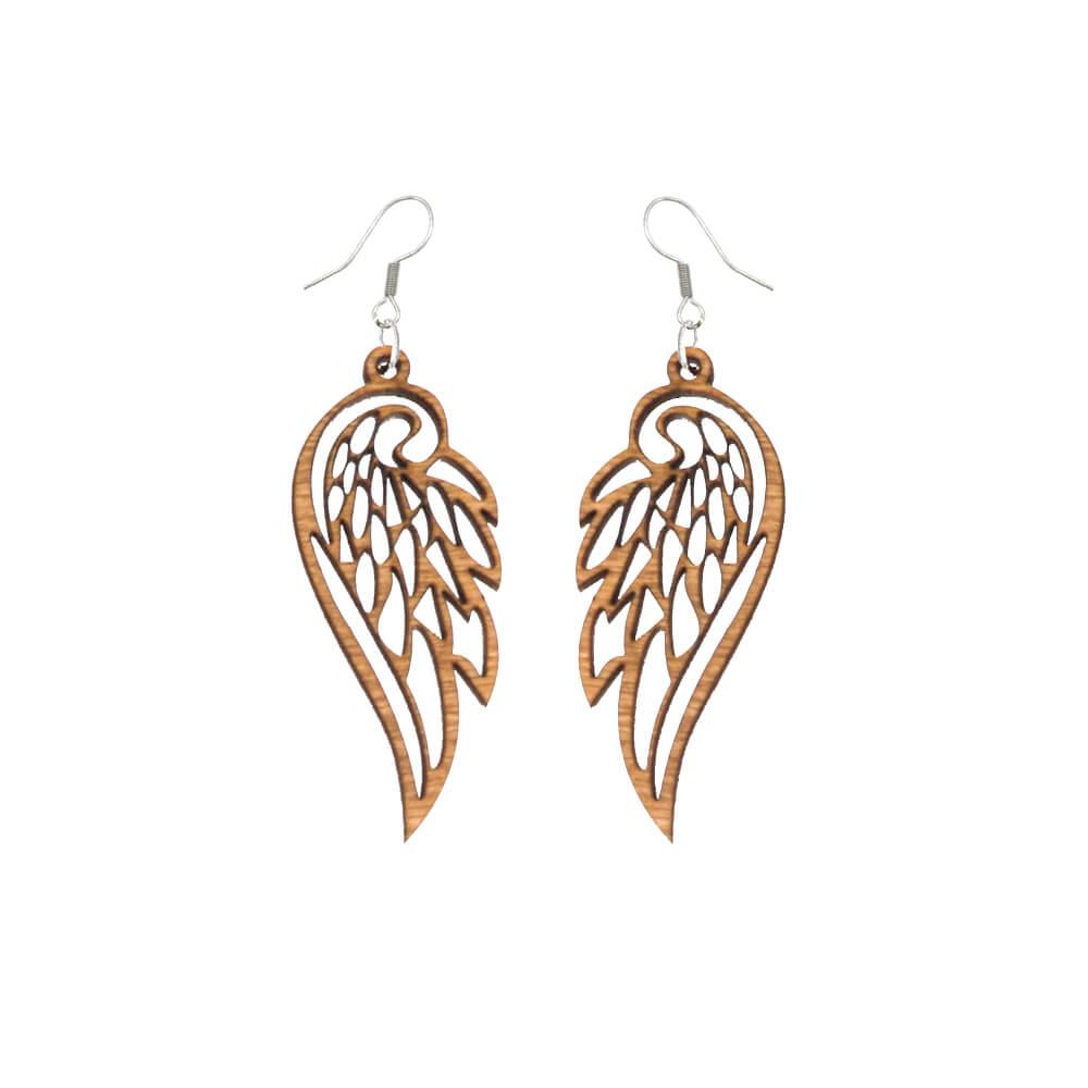 kolczyki drewniane wzór skrzydła